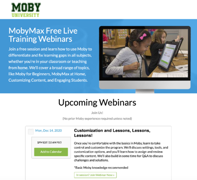 Moby Univeristy Live Training